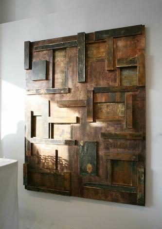 "Urban Series IV,  2007 Goldleaf on galvanized steel, 60 x 80"""