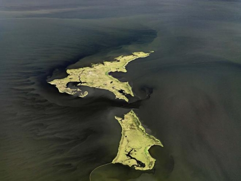 Edward Burtynsky, Oil Spill #14, Marsh Islands, Gulf of Mexico, June 24, 2010, chromogenic color print, 39 x 52 inches © 2010 Edward Burtynsky