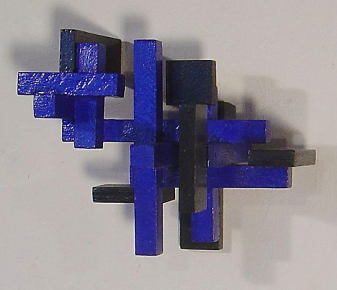Blue Cross, 1988, Wood and acrylic paint, 8.5 x 10.5 x 8.5""