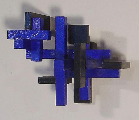 "Blue Cross, 1988, Wood and acrylic paint, 8.5 x 10.5 x 8.5"""