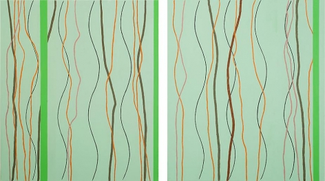 One-Two, 2010, acrylic on canvas, Diptych 30 x 26 inches (54 inches overall)