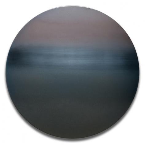 Miya Ando, Blue Taupe Mandala, 2017, dye, pigment, resin andurethane on stainless steel, diameter: 40 inches/101.6 cm