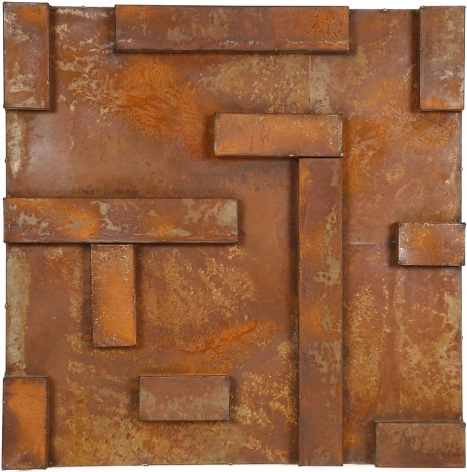 """Nathan Slate Joseph,  Siam Orchid , 2005, Natural oxidation on galvanized steel, 36 x 36 x 4"""""""