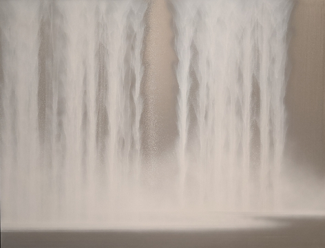 Hiroshi Senju, Waterfall, 2021, natural pigments and platinum on Japanese mulberry, paper mounted on board, 44.125x 57.3inches/112 x 145.5 cm
