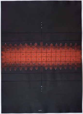 Sohan Qadri, Agamas, 2008, ink and dye on paper, 39 x 55 inches/99.1 x 139.7 cm