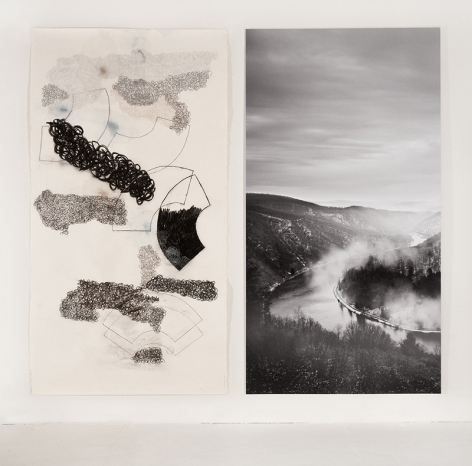 The Saar (and Subjectivity) Section 4, 2014, one work on paper, one photograph, 84 x 95 inches/213.4 x 241.3 cm
