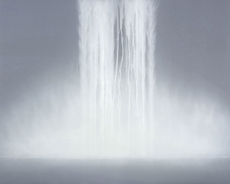 Hiroshi Senju, Waterfall, 2009, fluorescent pigment on mulberry paper mounted on board, 71.5x 89.5inches/228x 182cm