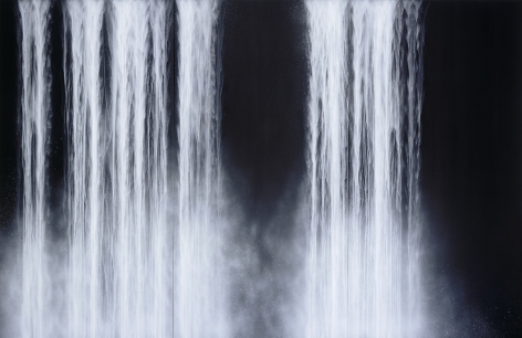 Hiroshi Senju, Iguacu, 2008, fluorescent pigment on mulberry paper mounted on board, 108 x 167.75/275 x 426 cm
