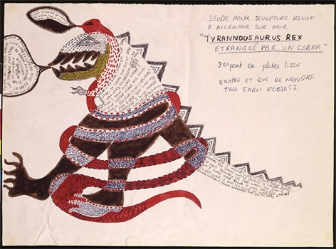 Niki de Saint Phalle, Study for sculpture Tyrannosaurus Rex, c.1963, marker, ink, pencil on paper, 14.2 x 19.3 inches