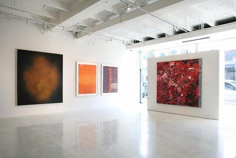 Sundaram Tagore Gallery Beverly Hills, Group Show, Artist Exhibited Left to Right: Natvar Bhavsar, Sohan Qadri, Judith Murray.