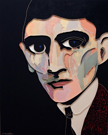 Kafka, 2008, Acrylic and wood on canvas, 60 x 48""