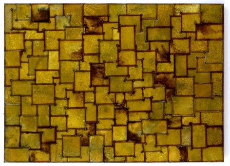 "Nathan Slate Joseph, Sun See Moon, 2007, pure pigment on galvanized steel, 60 x 84"""