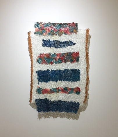 Neha Vedpathak, Deconstructed Flag, 2017, handmade paper, acrylic paint, thread, 39 x 26 inches/99 x 66 cm