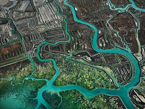 Edward Burtynsky, Salina #3, Cadiz, Spain, 2013, Chromogenic color print, 48 x 64 inches. Photographs © 2013 Edward Burtynsky.