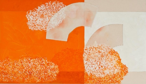 Playing With Stillness, 2014, acrylic and pencil on canvas, 31 x 54 inches/79 x 137 cm