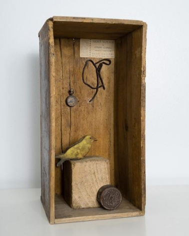 , Night Voyage: Homage to Joseph Cornell, 1962, found object assemblage (including compass, bird carving and Egan Gallery label: Night Voyage by Joseph Cornell / Feb 10-Mar 10, 1953), 15.2 H x 7.6 W x 7.25 D