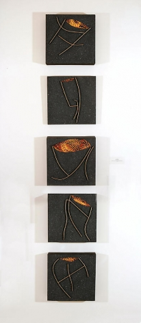 Five Easy Steps, 2000, Acrylic, silicon carbonates and wood on canvas, 1x1'