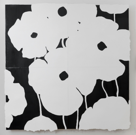 Black and Whites Jan 20 2015, 2015, enamel, tar & spackle on tile over masonite, 96 x 96 inches/243.8 x 243.8 cm