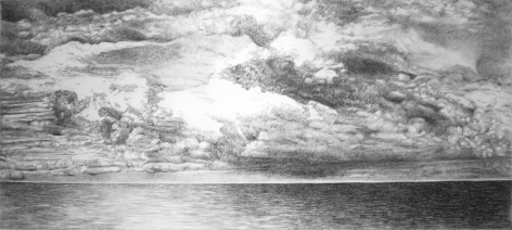 Horizon: Home Bound, 2016, charcoal on paper, 53.5x 106.3 inches/136 x 270 cm