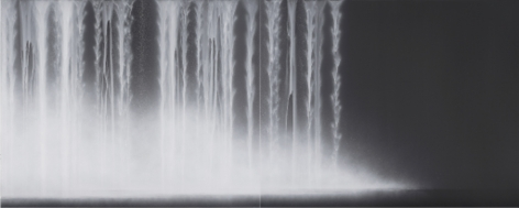 Waterfall, 2014, Acrylic pigments on Japanese mulberry paper, 71.6 x 179 inches/182 x 455 cm