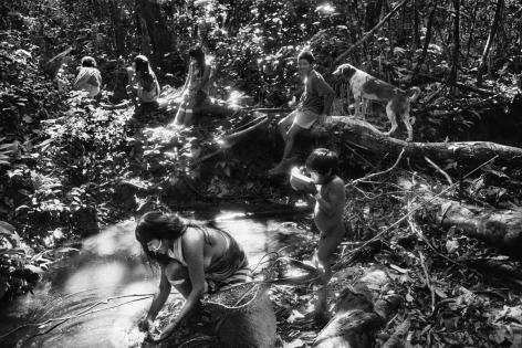 Sebastião Salgado, Scene near the Marubo Maronal village, Amazonas, Brazil, 1998, gelatin silver print, 24 x 35 inches/61 x 89 cm