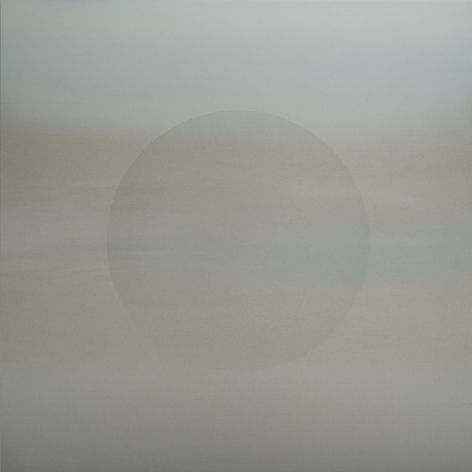 Oborozuki (A Moon Obscured by Clouds) Faint Blue, 2020, pigment and urethane on aluminum, 36 x 36 inches/91.4 x 91.4 cm
