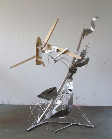 "Shake It And Break It, 2010, stainless steel, wood, industrial paint, 87""H x 68""L x 46 1/4""W"