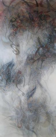 Khaled Al-Saa'i, About Paradise II, 2011, acrylic on canvas, 82.7 x 35.4 inches