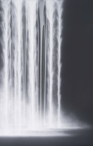 Waterfall, 2020, natural pigments on Japanese mulberry paper mounted on board, 89.5 x 57.25 inches/227 x 145.4 cm