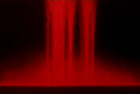 Hiroshi Senju, Falling Color (Red), 2007, pure pigment on mulberry paper mounted on board, 51 x 76 inches