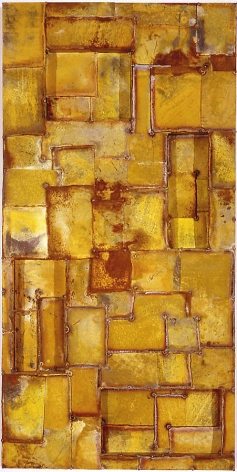 Latin Yellow, 2003, Pure pigment on galvanized steel, 30 x 60""