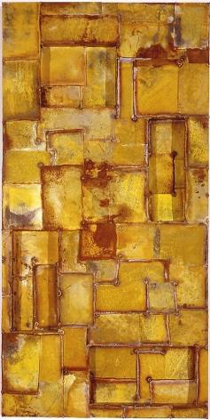"Latin Yellow, 2003, Pure pigment on galvanized steel, 30 x 60"""