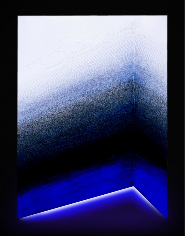 Untitled, 2018, mixed media on composite with LED light, 59.1 x 43.3 inches/150 x 110 cm