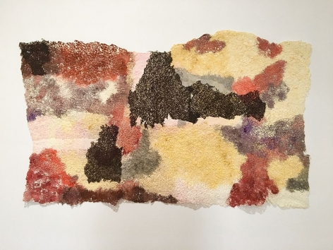 Of the Land, 2018, handmade paper, acrylic paint, thread, 30 x 51 inches/76.2 x 129.5 cm