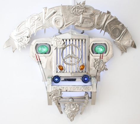 Transformers I (Spakol-Bukol), 2010, stainless steel, Jeep parts and LED lights, 60 x 68 x 13 inches/152.4 x 172.7 x 33 cm