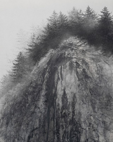 Cliff, 2020, natural pigment and platinum on Japanese mulberry paper mounted on board, 63.8 x 51.3 inches/162 x 130 cm