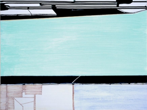 Frances Barth, tri_part_screen, 2010, acrylic on panel, 18 x 24 inches