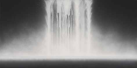 Hiroshi Senju, Waterfall, 2014, natural pigments on Japanese mulberry paper, 39.4 x 78.75 inches