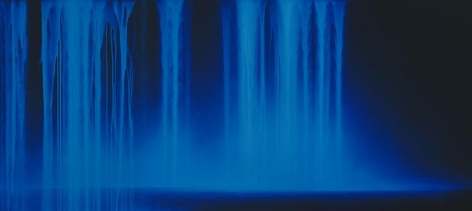 Hiroshi Senju, Falling Water, 2013, Acrylic and fluorescent pigments on Japanese mulberry paper, 66 1/8 x 146 1/2 inches © 2013 Hiroshi Senju