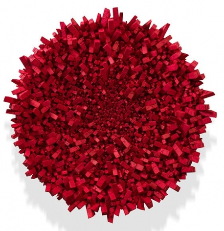 Chun Kwang Young, Aggregation 18 - OC060 (Star 6), 2018, mixed media with Korean mulberry paper, 43.25inches/110 cm tondo