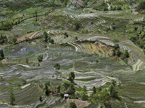 Edward Burtynsky, Rice Terraces #1, Western Yunnan Province, China, 2012, Chromogenic color print, 48 x 64 inches