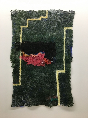 Portrait of a Studio 1, 2020, plucked Japanese handmade paper, acrylic paint, thread, 50.5 x 33 inches/128.3 x 83.8 cm