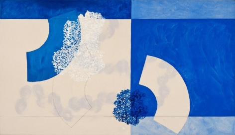 , In Dialogue With Stillness, 2014, acrylic and pencil on canvas, 36 x 63 inches/91 x 160 cm