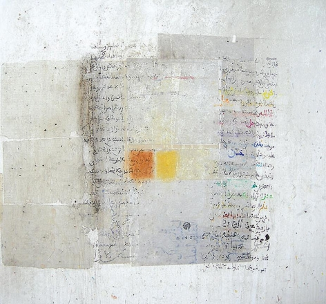 Hakim Ghazali, Untitled, 2005, mixed media on canvas, 59.1 x 59.1 inches