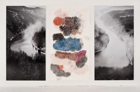 , The Saar (and Subjectivity) Section 2, 2014, one work on paper, one photograph, 84 x 145 inches/213 x 368 cm