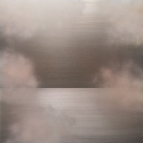Miya Ando, Tasogare Peach Pink Yellow, 2018, dye, pigment, resin, silver & urethane on aluminum, 60 x 60 inches/152.4 x 152.4 cm