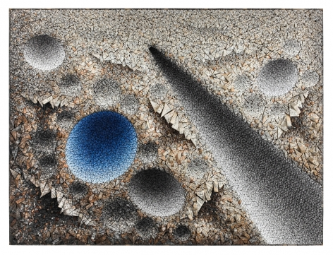 Chun Kwang Young, Aggregation 14 - JA005 Blue, 2014, mixed media with Korean mulberry paper, 60 x 76.8 inches/152 x 195 cm