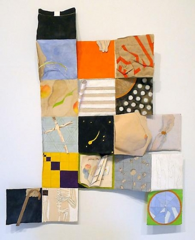 , Susan Weil, Wandering Rocks, 1996, canvas and collage on steel, 44.5 x 37 x 3 inches