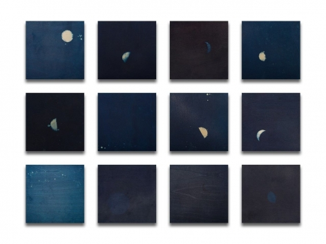 Miya Ando, 12 Seasons' Moon Phases, 2020, indigo and micronized silver on wood panel, 36 x 48 inches/91.4 x 121.9 cm