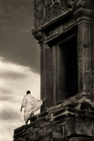 John McDermott, Monk in the Wind, Angkor Wat, 2001, archival pigment print, 30 x 20 inches